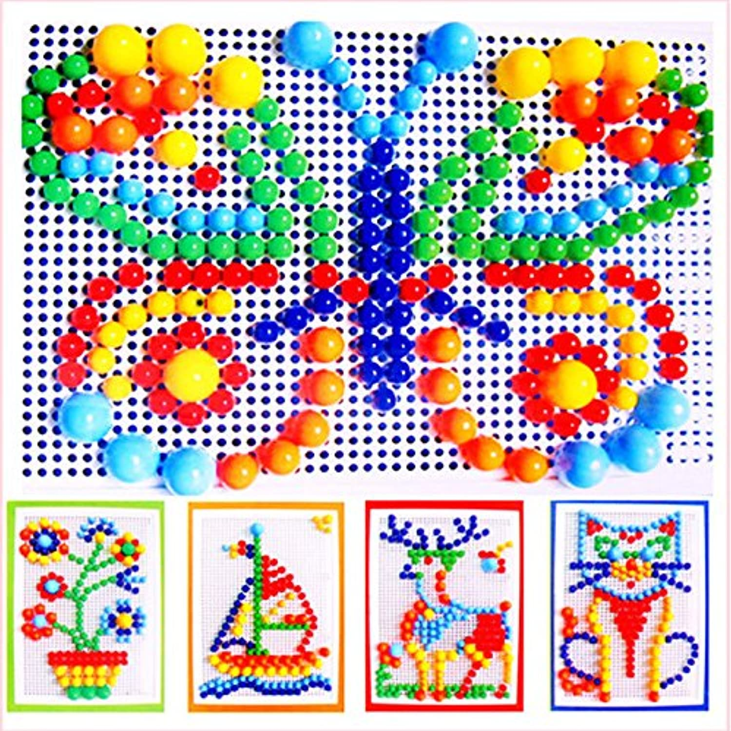 CynKen 296PCS Portable Mosaic Nail Puzzle Peg Board For Kids Children Educational Toys Gift