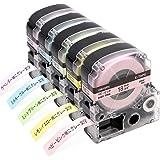 ガーリー テープ 18mm キングジム テプラ テープ ソフト pro カートリッジ SW18PH SW18YH SW18GH SW18BH SW18VH グレー文字 互換 ベビーピンク レモンイエロー ミントグリーン ミルキーブルー ラベンダー,5個