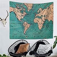レトロな水彩画の世界地図デジタル印刷タペストリー寝かせた壁画壁掛けテレビ壁紙壁掛け寝室居間タペストリーウォールマウントアート壁の装飾 (Color : 004, Size : 200cm*150cm)