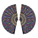 舞扇子 KAKOO 2個 孔雀扇子 スパンコール バレエ用品 踊り扇子 練習の必要品 新着品 フラメンコ アバニコ 歌舞伎小物