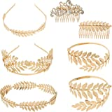 OFNMY 7 Pieces Greek Roman Laurel Leaf Bracelet Armband Golden Laurel Leaves Crown Tiara Costume Accessories Womens Leaf Head