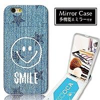 301-sanmaruichi- iPhoneXS ケース iPhoneX ケース ミラーケース 鏡付き ミラー付き カード収納 おしゃれ ニコちゃん スマイル デニムプリント 星 A