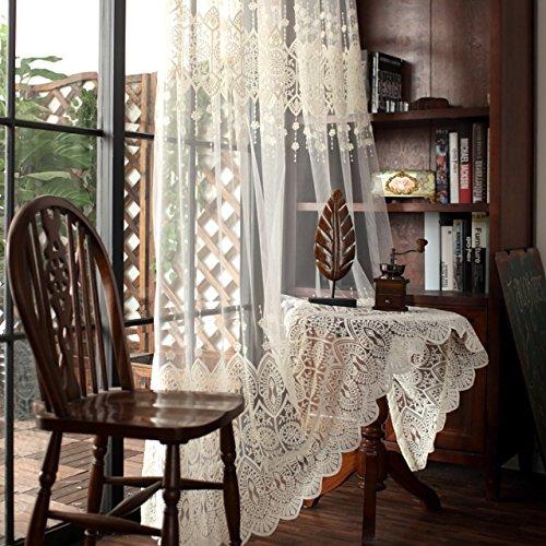 WPKIRA レースカーテン カーテン おしゃれ ヨーロッパスタイル刺繍 透けない UVカット薄手のカーテン おしゃれ 自然に 換気 半遮光 窓 部屋 寝室 ドア 洗濯可能 1組2枚入 フックを送る カーテン 200cm丈