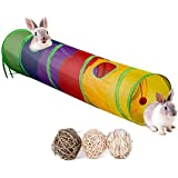 Bunny Hideout, Rabbit Tunnels and Tubes, 3 Pack of Grass Balls - Collapsible Hideaway Small Animal Activity Tunnel Toys for C