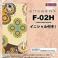 F-02H スマホケース arrows NX ケース アローズ NX イニシャル エスニック花柄 ベージュ×茶 nk-f02h-1583ini K