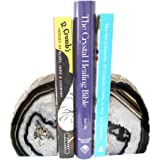 Black Agate Bookend Pair - 1 to 3 lb - Geode Bookend with Rock Paradise Exclusive COA