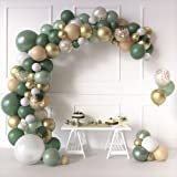 Sweet Baby Co. Sage Green Balloon Garland Arch Kit with Eucalyptus Olive, Peach, White, Gold Balloons and Greenery for Forest