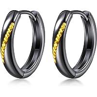 【限定商品】 ピアス メンズ レディース 人気 シルバー925 フープピアス 黒 ツートンカラー 「星の輪」 金属アレル…