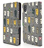 PLATA iPhone X ケース 手帳型 日本生地 使用!  干されている 猫 カバー ポーチ アイフォンX iphoneX 【 グレー 灰色 gray ぐれー 】 IPX-5111GR