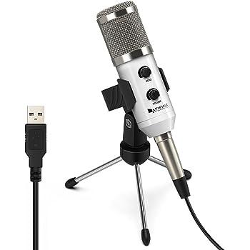 FIFINE ファイファイン USBマイク コンデンサーマイク PCマイク エコー機能 Skype 通話 宅録 録音 配信 放送 ゲーム実況 Windows/Mac/Linux OX対応 単一指向性 ホワイト K056