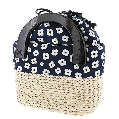 [ 京都きもの町 ] とうもろこし 編み籠バッグ「紺×白、白×黒 お花」 1.紺×白