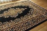 ペルシャ 柄 ラグ マット エンペラー ウィルトン織り ブラック 約 235×320 cm 約 6畳 ベルギー製
