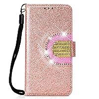の Huawei P Smart シェル, [余分な カード スロット] Happon [財布 シェル] PU レザー TPU ケーシング カバースリム [ドロッププロテクション] カバー の Huawei P Smart, Rose Gold