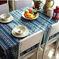 レース付きコットンリネンテーブルクロス,アンチ-フェージングウォッシュブル テーブルカバー シワ テーブル プロテクター キッチンデコレーション用-青 140x200cm