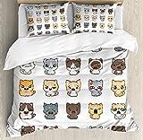 絵文字布団カバーセットby Ambesonneさまざまな表情、かわいい漫画猫と犬with Angry Happy Sad Smiling、装飾寝具セット枕のカバー、マルチカラー QUEEN / FULL nev_48515_queen