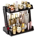 GOBAM Makeup Organizer, Cosmetic Storage Display Shelf with 2 Layers Black Cosmetic Shelf