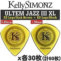 Kelly SIMONZ ケリーサイモン オリジナルピック KSJZ2-088 + KSJZ3-100 ウルテム JAZZ III XL 0.88mm 1.0mm KSロゴ 2種類各30枚 計60枚セット