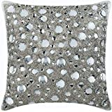 "Handmade Silver Throw Pillow Covers, Rhinestones and Crystals Sparkly Glitter Pillows Cover, 18""x18"" Throw Pillow Covers, Squ"