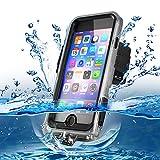 「NEWOER正規品」iPhone 防水ケース 完全防水 IP68規格 防塵 防振 防衝撃 全方位保護 横置き対応 高感度タッチスクリーン スピーカー使用可能 (iPhone6/iPhone6S, 黒)