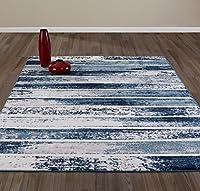 Diagona Designs Contemporary Stripes Design Modern Area Rug Beige/Navy/Teal 63 W x 87 L 【Creative Arts】 [並行輸入品]