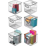 mDesign Plastic Home Office Storage Organizer Container with Handles - for Cabinets, Drawers, Desks, Workspace - Holds Pens,