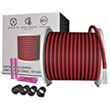 AOTOINK 65.6ft Extension Cable Wire Cord 20M 22AWG Wire Cord 22 Gauge Red Black 2 Wire Stranded Tinned Copper for Led Strips