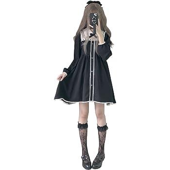 efc9ef688b0a2  Cospland  ロリータ服 ワンピース Star コスプレ 森ガール 姫袖 通勤 長袖 ブラック (