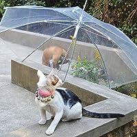 ペット用 傘 小型犬/中型犬向き ペットアンブレラ 犬用 傘 お散歩用傘 雨天の日に 雨具 透明傘 超撥水 耐強風 雨の日わんちゃんを守り 風邪防止 長持ち