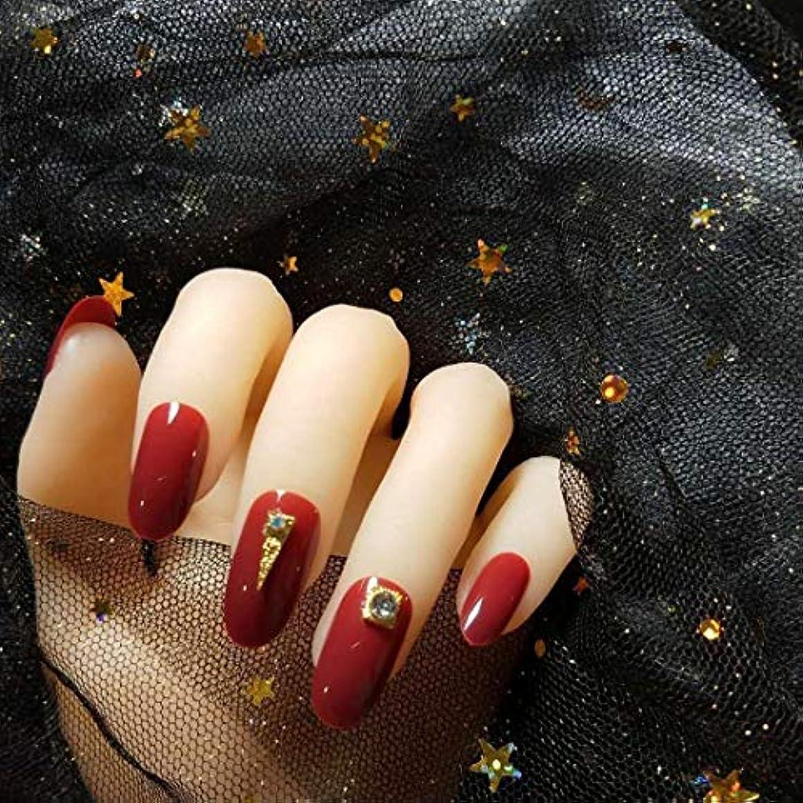 腸魅力不実NANNAN ネイルチップ 3D ネイルチップ 綺麗な飾り付け 24枚入 原宿 和風 夢幻 和装 手作りネイルチップ 結婚式ネイルチップ 赤