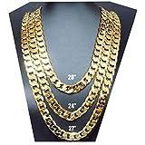 ゴールドチェーンネックレス9mm 24KファッションジュエリーダイヤモンドカットマイアミキューバリンクヒップホップRealギフトブラックFriday Sale