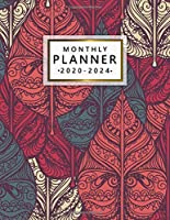 2020-2024 Monthly Planner: 5 Year Monthly Agenda with 60 Months Spread View | Five Year Organizer with To-Do's, Inspirational Quotes, Vision Boards, Notes & More | Abstract Ethnic Leaf Pattern