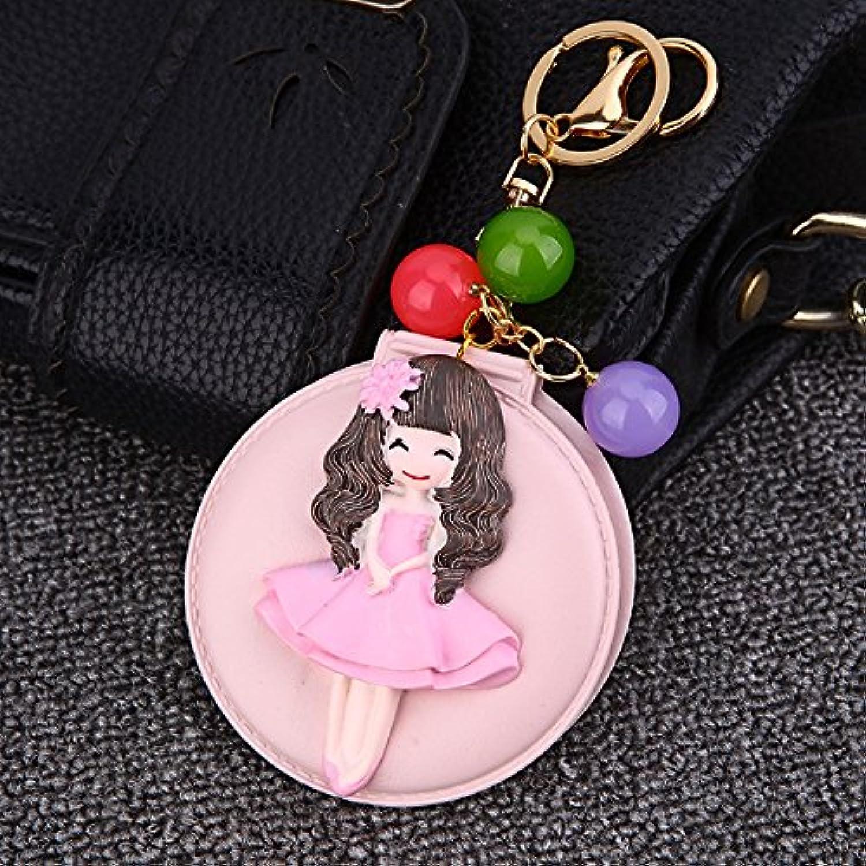 HuaQingPiJu-JP 小さな女の子の形状の手のミラー小さなガラスミラー工芸装飾化粧品アクセサリーのピンク
