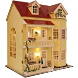 Cute Room DIY Miniature Dollhouse Kit with Furniture,3 Floors Large Wooden Doll House Plus Music Movement & Lights, DIY House