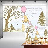 Classic Winnie The Pooh Baby Shower Backdrop for Girls Pink Balloon Pooh and Friends Birthday Banner for Cake Table Party Dec