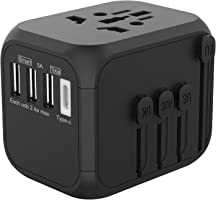 Jollyfit International Universal Travel Adapter USB Charger AC Power Wall Plug US UK AU EU Worldwide 150 Countries with...