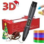 3DペンPLA / ABSフィラメントリフィル、OLEDディスプレイ付きのプロフェッショナル3D印刷ペン、USB充電、温度制御、8スピード印刷制御,立体絵画 DIY (黒)
