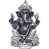 インドの神様 ガネーシャの置物 ガネーシャ 置物 ガネーシャ像 夢を叶える象 金運アップ 開運 瞑想 商売繁盛 現世利益 ヒンドゥー教の神様 象の神様 ガナパティ 歓喜天 聖天 T18184 高さ23.5cm シルバー 銀 ブラック
