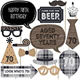 70th Milestone Birthday - Dashingly Aged to Perfection - Photo Booth Props Kit - 20 Count