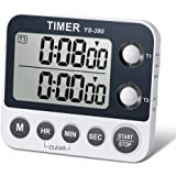 HomeMall Digital Dual Kitchen Timer, Cooking Timer, Dual Count Up & Down Timer with Magnetic Back, Large Display, Adjustable