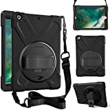 ZenRich case for iPad 9.7 2017 2018,360 Degree Rotatable with Kickstand,Hand Strap and Shoulder Strap case, 3 Layer Hybrid He