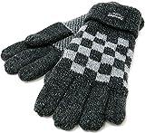 (シンサレート) Thinsulate 手袋 メンズ グローブ ニット ブロックチェック 裏フリース 高機能中綿素材 4color Free チャコール