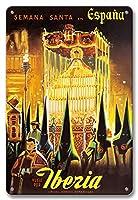 22cm x 30cmヴィンテージハワイアンティンサイン - イベリア - スペインのイースター - フライイベリア(スペインの航空会社) - ビンテージな世界旅行のポスター c.1950s