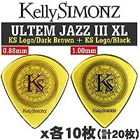 Kelly SIMONZ ケリーサイモン オリジナルピック KSJZ2-088 + KSJZ3-100 ウルテム JAZZ III XL 0.88mm 1.0mm KSロゴ 2種類各10枚 計20枚セット