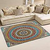 Indian Mandala Vintage Decorative Red and Yellow Doormat Floor Mat Rug Indoor/Outdoor/Front Door/Bathroom Mats 23.6 x 15.7 inches Non Slip