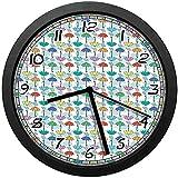 雲の積雲のデザインの雨漫画スタイルのカラフルなモチーフの日傘のパターン壁掛け時計、壁掛け時計のファッション、素敵な贈り物やユニークなオフィスの家の装飾12インチ(約30 cm)