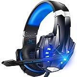 Bengoo ゲーミングヘッドセット ps4 ヘッドセット ゲーミングヘッドホン全効能 密閉型 ゲーム用ヘッドセット重低音 高音質 マイク付き ステレオゲーミングヘッドセット 騒音隔離 音量調整機能付き forPS4 SWITCH XBox one PCに対応 (青)