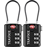 TSA Approved Luggage Locks, Travel Locks Which Also Work Great as Gym Locks, Toolbox Lock, Backpack and more,Black 2 Pack