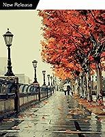 DIY油絵、ペイントby Numberキット大人子供初心者用withブラシとアクリルpigment-romantic Love Autumn 16x 20インチ(フレームレス)