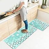 Kitchen Rug Set,LEEVAN Kitchen Floor Mats 2 Piece PVC Leather Anti Fatigue Comfort Heavy Duty Standing Mat Waterproof Oil Pro