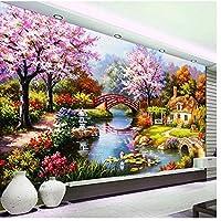 ロマンチックな牧歌的な風景壁画-カスタム壁紙油絵大壁画壁の装飾リビングルームの寝室の壁紙350cm(W)x245cm(H)